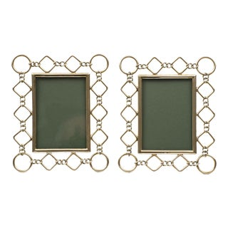 Antique English Pair Brass Ring & Diamond Shaped Photo Frames, Circa 1900