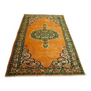 Antique Turkish Anatolian Orange Handmade Rug- 5′3″ × 8′3″