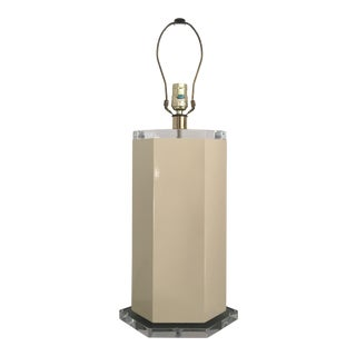 Off White Lacquer Hexagon Lamp with Lucite Base & Finial
