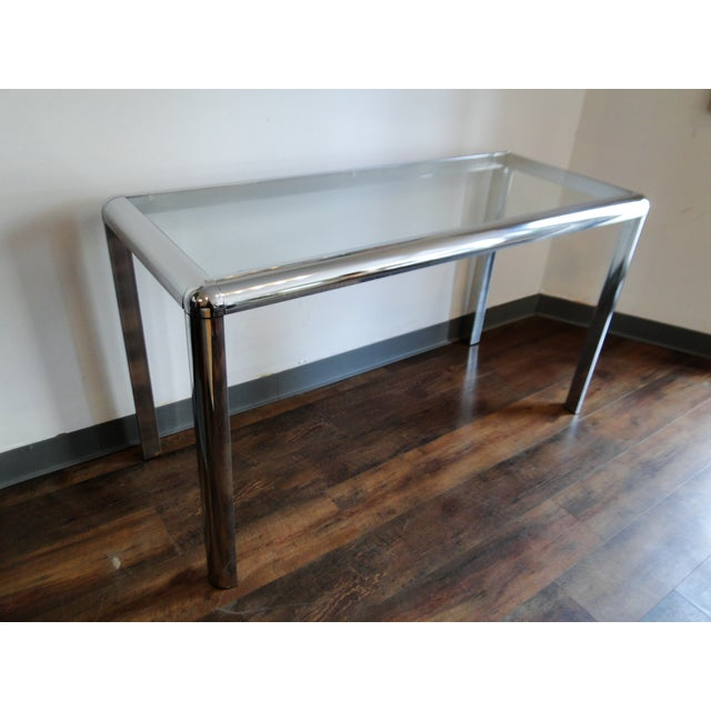 Mid Century Chrome and Glass Console Table - Image 4 of 8