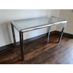 Image of Mid Century Chrome and Glass Console Table