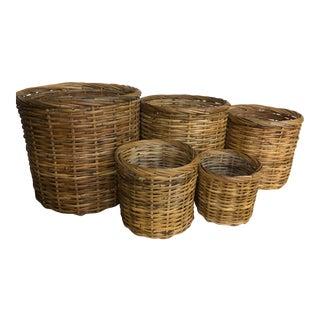 Handmade Rattan Nesting Baskets - Set of Five