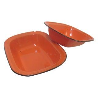 Orange Enamel Basin Nesting Bowls