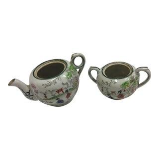 Japanese Decorative Porcelain Teapot & Sugar Bowl - A Pair