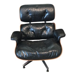 1950s Mid-Century Eames Black Leather Lounge Chair