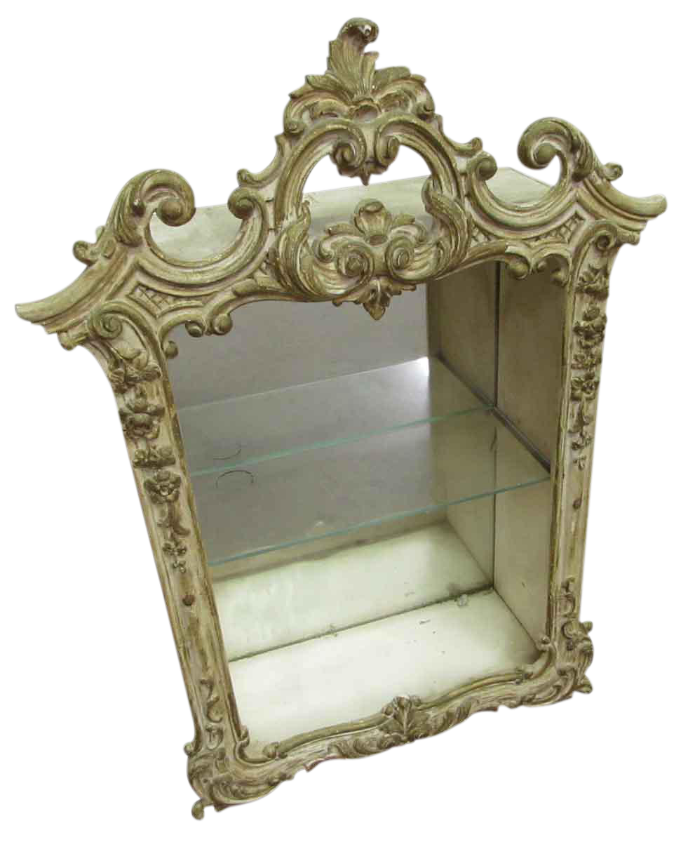 antique wall mounted display cabinet with mirror