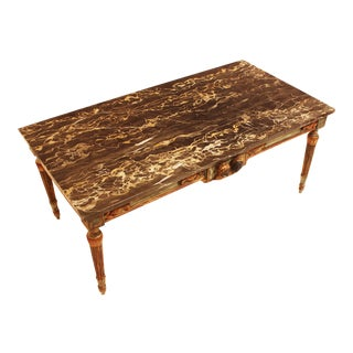 French Painted and Parcel Gilt Neoclassical Style Marble-Top Coffee Table