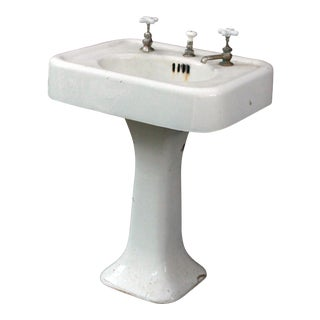 1920's Antique Cast Iron & Porcelain Pedestal Sink