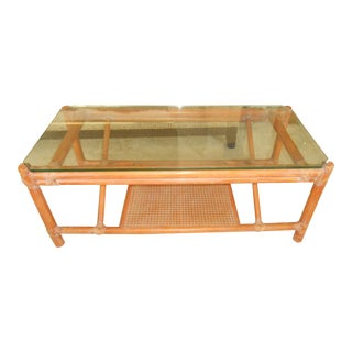 McGuire Rattan Bamboo & Glass Coffee Table