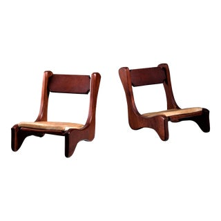 Pair of American Low Pastor Chairs with Cowhide Seat Pad by John McAlevey, 1972