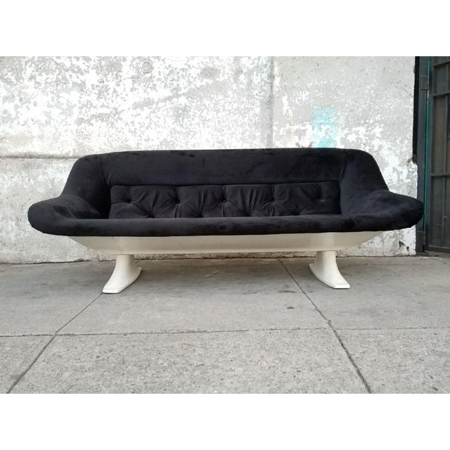 Mid-Century Modern Black Velvet Sofa - Image 2 of 7