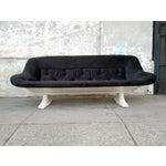 Image of Mid-Century Modern Black Velvet Sofa