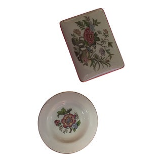 Wedgwood Cigarette Box With Lid and Dish- Set of 2