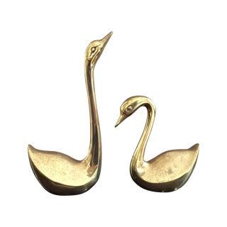 Vintage Brass Swans - A Pair