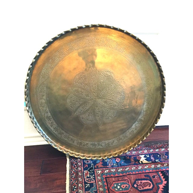 Mid-Century Hand-Hammered Brass Tray Coffee Table - Image 3 of 8