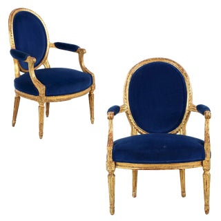 French Louis XVI Giltwood Fauteuils - A Pair