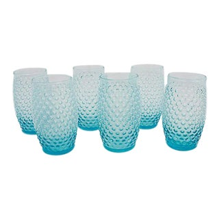 Turquoise Hobnail Tumblers, S/6