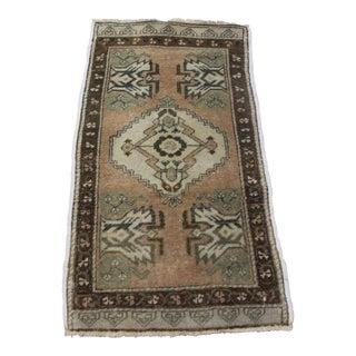 "Vintage Turkish Wool Doormat Rug - 1'10"" X 3'4"""