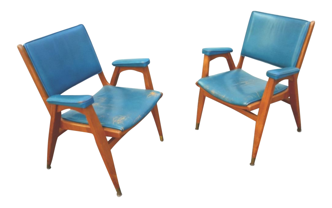 Vintage Gio Ponti Chairs In Teal Leather   Pair   Image 1 Of 8