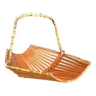 Vintage Folding Bamboo Fruit Basket