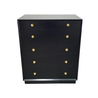 Ebonized Tall Dresser with Solid Brass Hardware