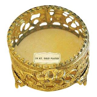 1960s Vintage 24k Gold-Plated Filigree Trinket Box