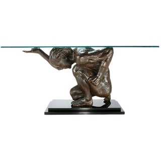 Lifesize Bronze Finish Atlas Sculpture Console Table