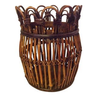 Rattan Waste Basket Bamboo Art