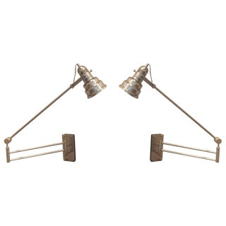 Articulated Industrial Cone Wall Lamps - A Pair