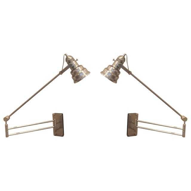 Image of Articulated Industrial Cone Wall Lamps - A Pair