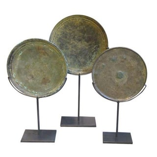 15th Century Set of Three Bronze Mirror Back Sculptures, Cambodia