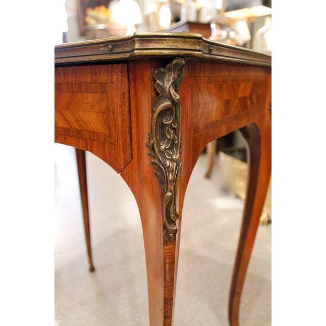 French Louis XV Style Brass Bound Marquetry Occasional Table - Image 5 of 11