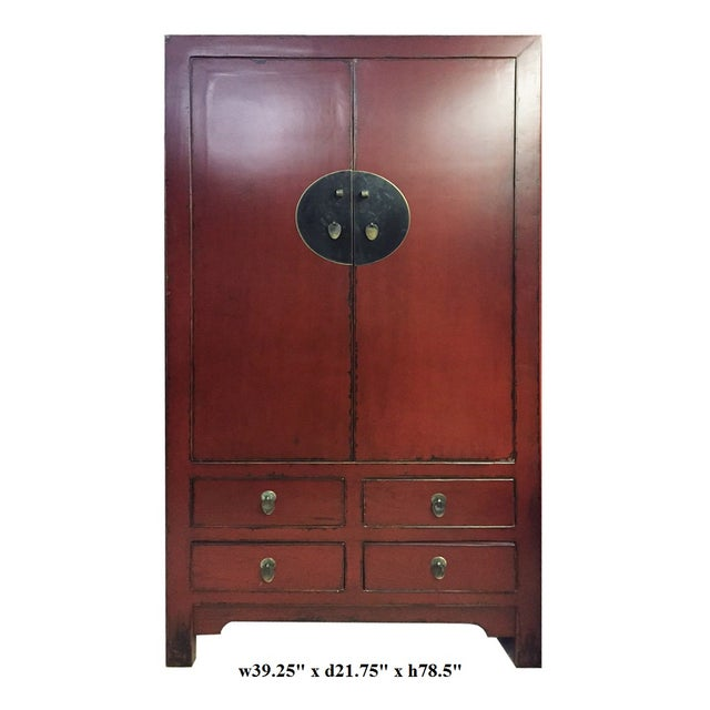 Chinese Asian Red Armoire Cabinet - Image 6 of 6