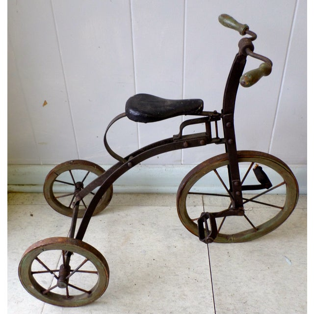 Antique Victorian Tricycle Metal & Wood Wheels - Image 2 of 9