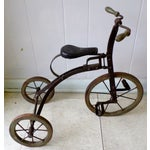 Image of Antique Victorian Tricycle Metal & Wood Wheels
