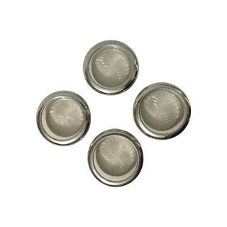 Glass And Silver Tone Coasters - Set of 4