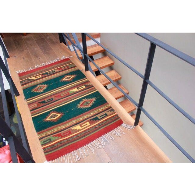 Mexican Pedal-Loom Green Rug - 2′7″ × 4′10″ - Image 5 of 6