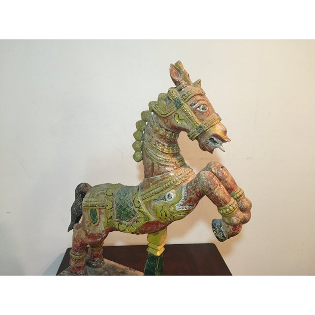 Indian Painted Wood Horse - Image 8 of 11