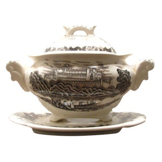 Brown & White Transferware Tureen w/ Underplate