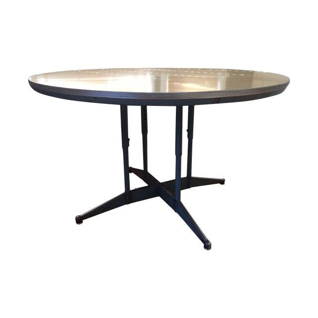 Vintage Industrial Circular School Table - Image 1 of 7