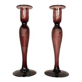 Pair of Art Glass Candlesitcks