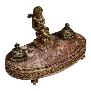 19th Century French Louis XVI Bronze & Marble Inkwell with Putti