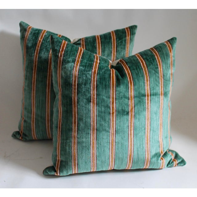 Striped Velvet Pair of Pillows - Image 2 of 4