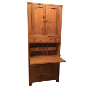 Wooden Cabinet With Hutch and Drawer