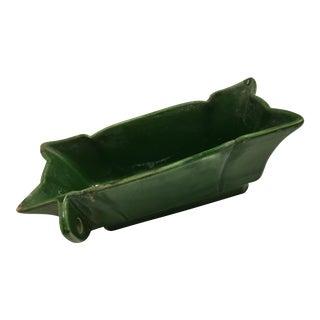 Green Glazed Ceramic Rectangular Bowl