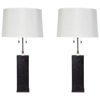 Pair of Lamps Finished in Snakeskin by R & Y Augousti, Paris