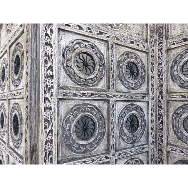 Gray 4-Panel Carved Screen with Iron - Image 3 of 8