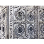Image of Gray 4-Panel Carved Screen with Iron