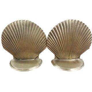 Brass Seashell Bookends - A Pair