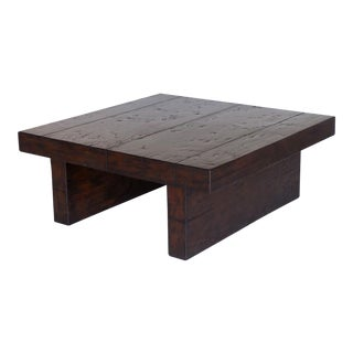 Contemporary Walnut Wood Coffee Table